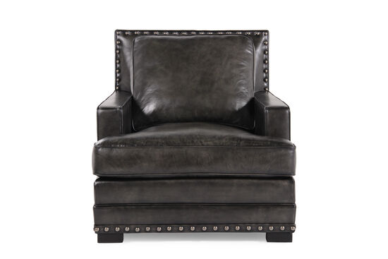 "Ranch House Leather 35"" Chair in Graphite"