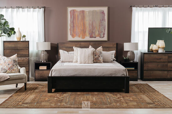 "48.5"" Contemporary Planked Queen Panel Bed in Dark Brown"