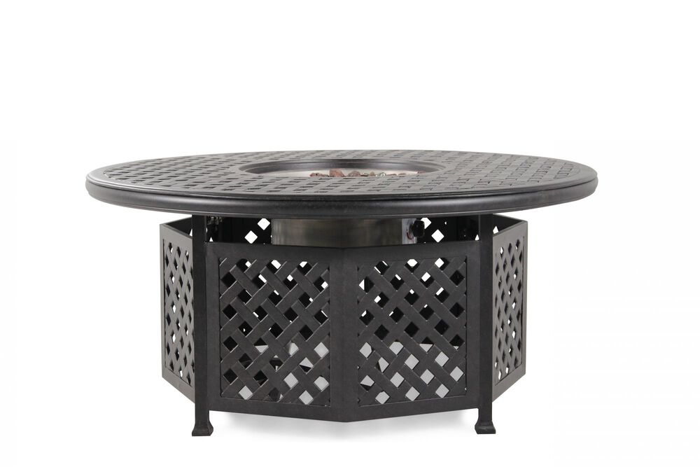 Lattice Cut-Out Aluminum Fire Pit Table in Brown