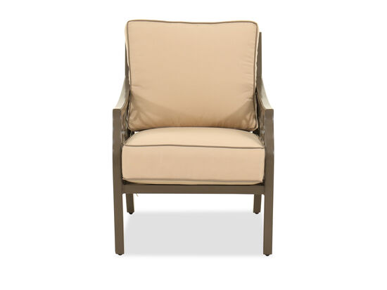 Lattice-Back Cushioned Patio Club Chair in Brown