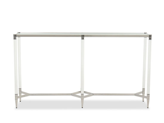 Contemporary Rectangle Console Table in Silver