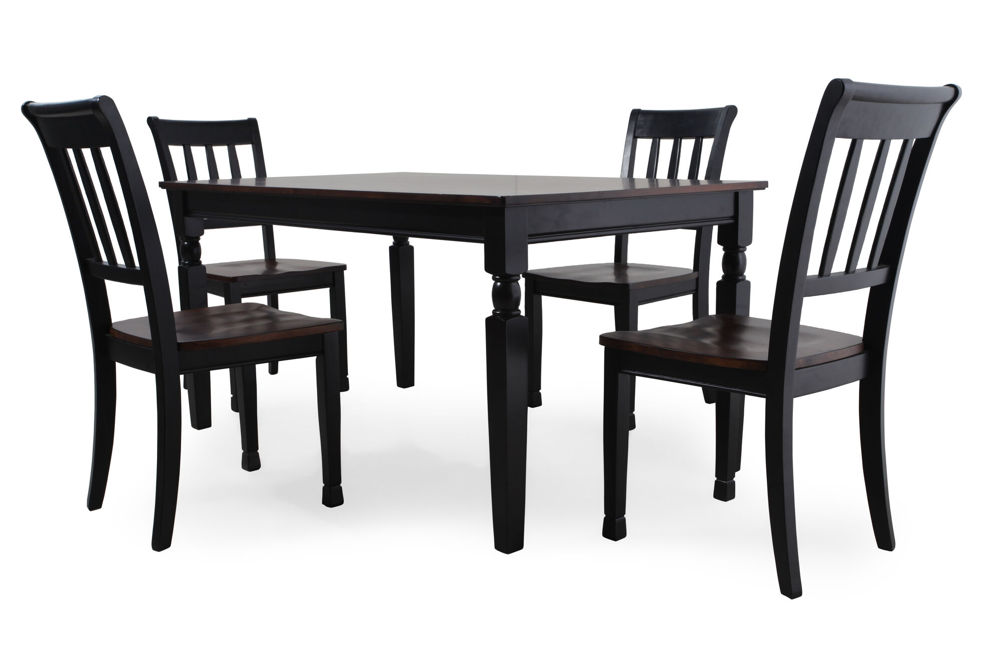 Five piece casual 60 dining set in black mathis brothers furniture