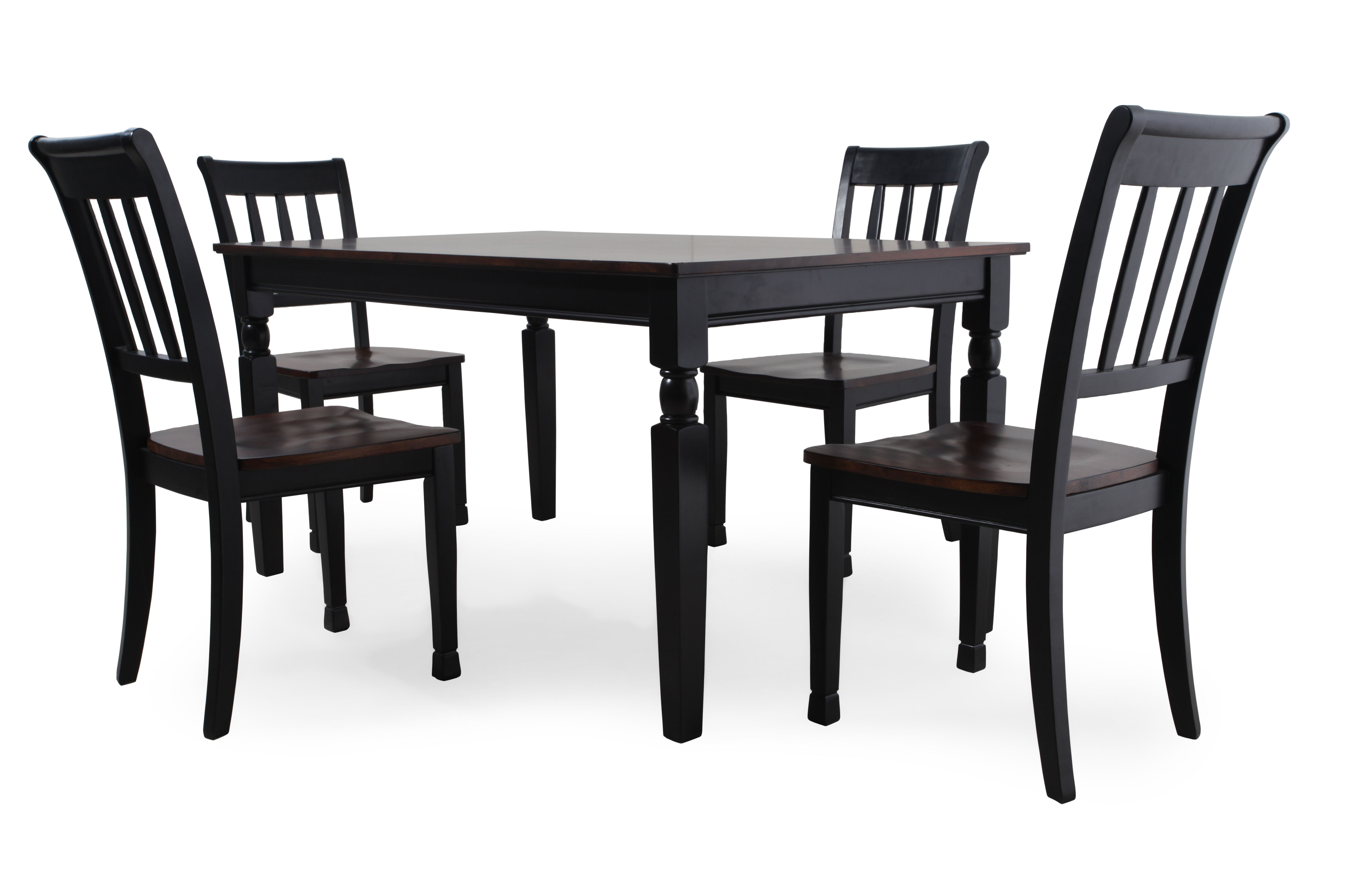 Five Piece Casual 60u0026#39;u0026#39; Dining Set In Black