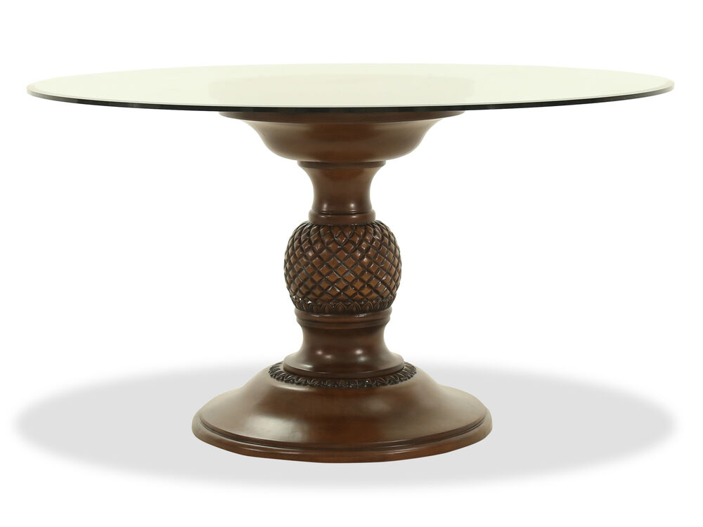 Traditional 54 Round Glass Top Dining Table In Medium Brown