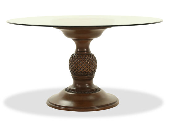 "Traditional 54"" Round Glass Top Dining Table in Medium Brown"