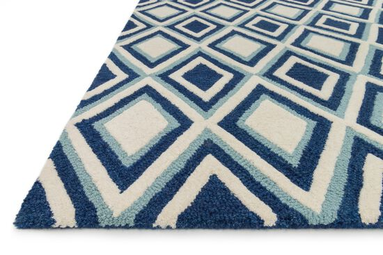 "Contemporary 3'-6""x5'-6"" Rug in Ivory/Blue"