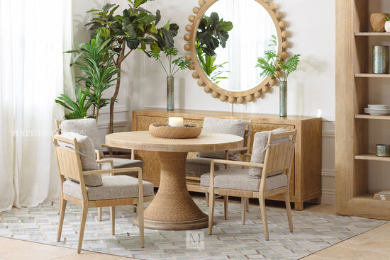 """Casual 48"""" Pedestal Dining Table in Buff Almond"""