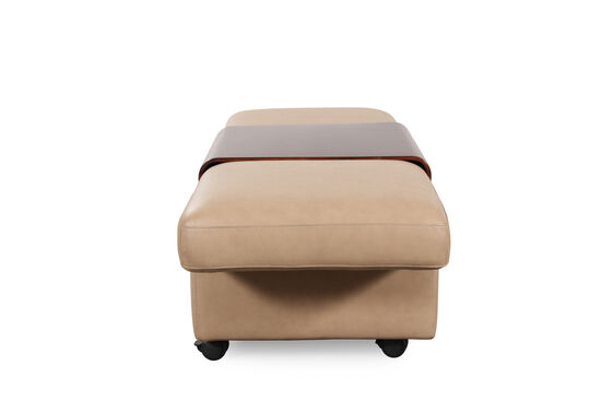 """Contemporary 37"""" Leather Double Ottoman with Table Top in Cream"""