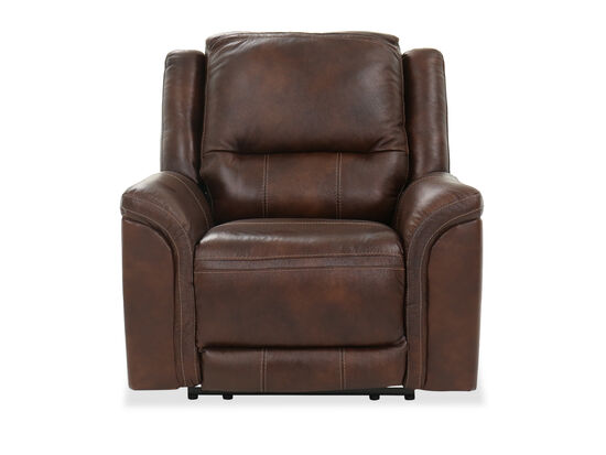 "Contemporary 41"" Leather Power Recliner in Brown"