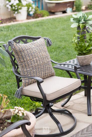 Swivel Rocker Cast Aluminum Chair in Brown