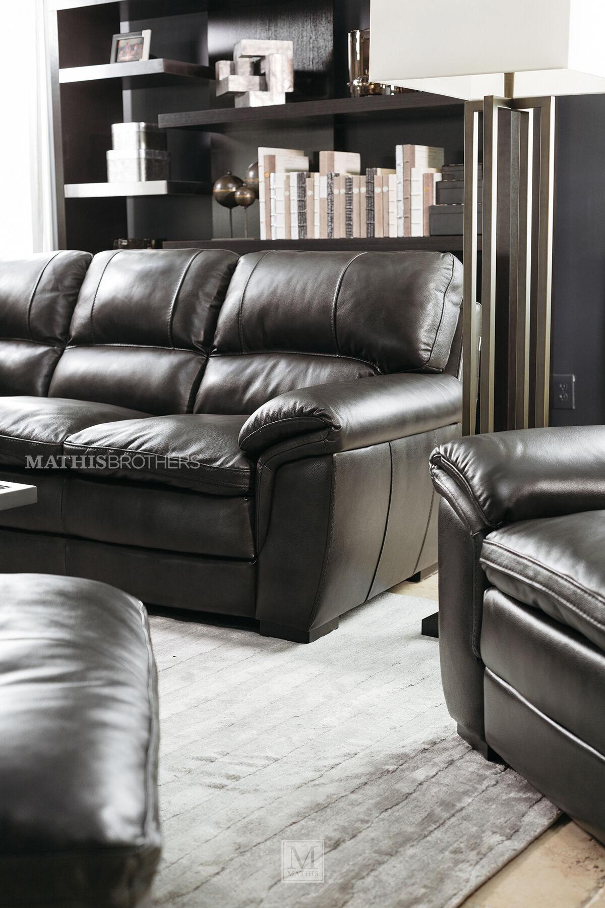 ... Dark Gray; 93u0026quot; Leather Sofa In ...