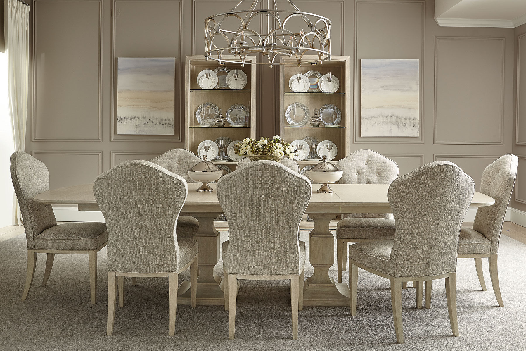 ... Side Chair In Oatmeal Buttoned Back Contemporary 41u0026#39;u0026#39; ...