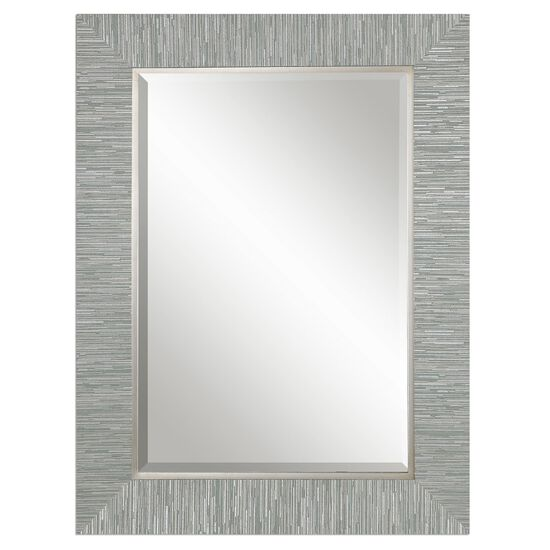 "38"" Solid Pine Textured Frame Mirror in Blue Gray"