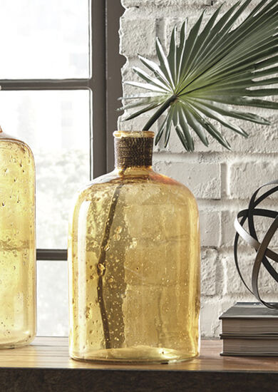 Seeded Glass Vase In Amber Mathis Brothers Furniture