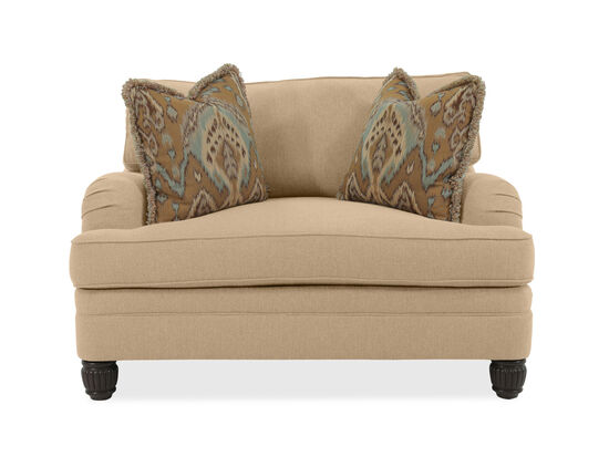 "Diamond Textured Casual 54.5"" Chair and A Half in Beige"