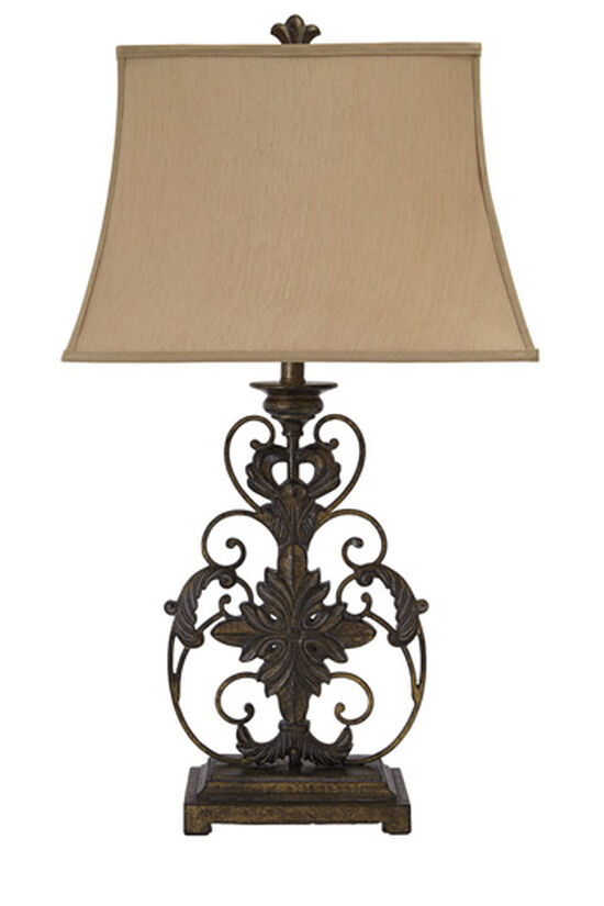 Traditional Scroll Base Table Lamp in Gold