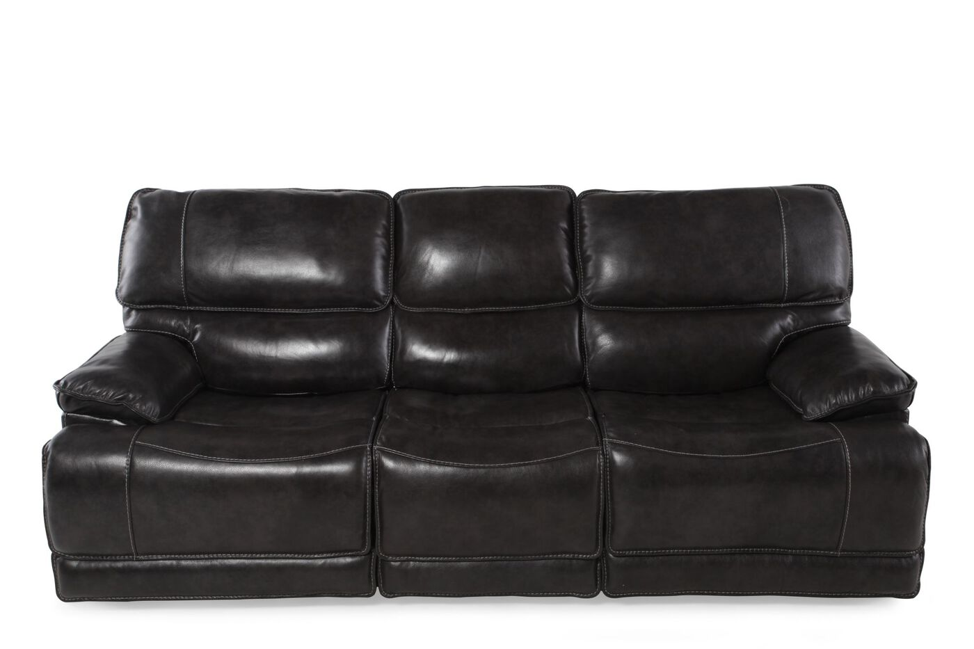 Leather 90 Quot Power Reclining Sofa In Black Mathis