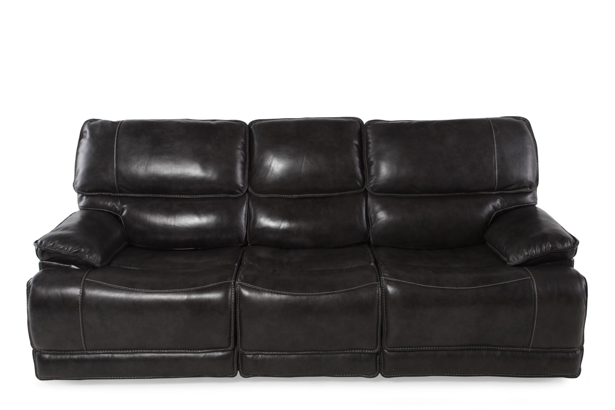 Leather 90 Quot Power Reclining Sofa In Charcoal Mathis