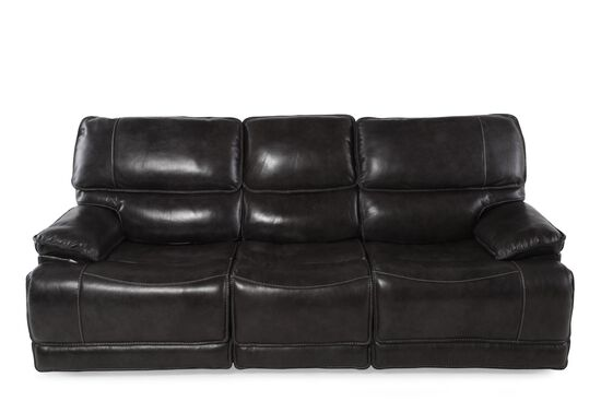 "Leather 90"" Power Reclining Sofa in Black"