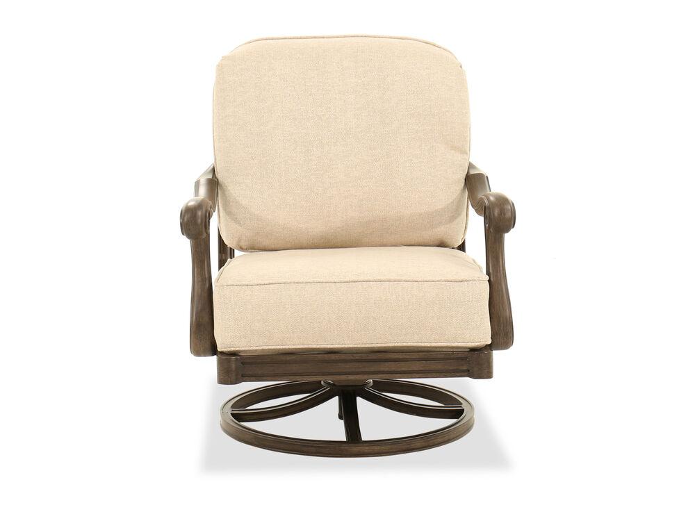 Scroll Accent Aluminum Swivel Rocking Chair in Beige