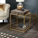 Contemporary Storage Side Table in Diamond Ash
