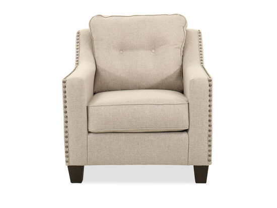 """Nailhead-Accented Contemporary 34"""" Chair in Fog"""