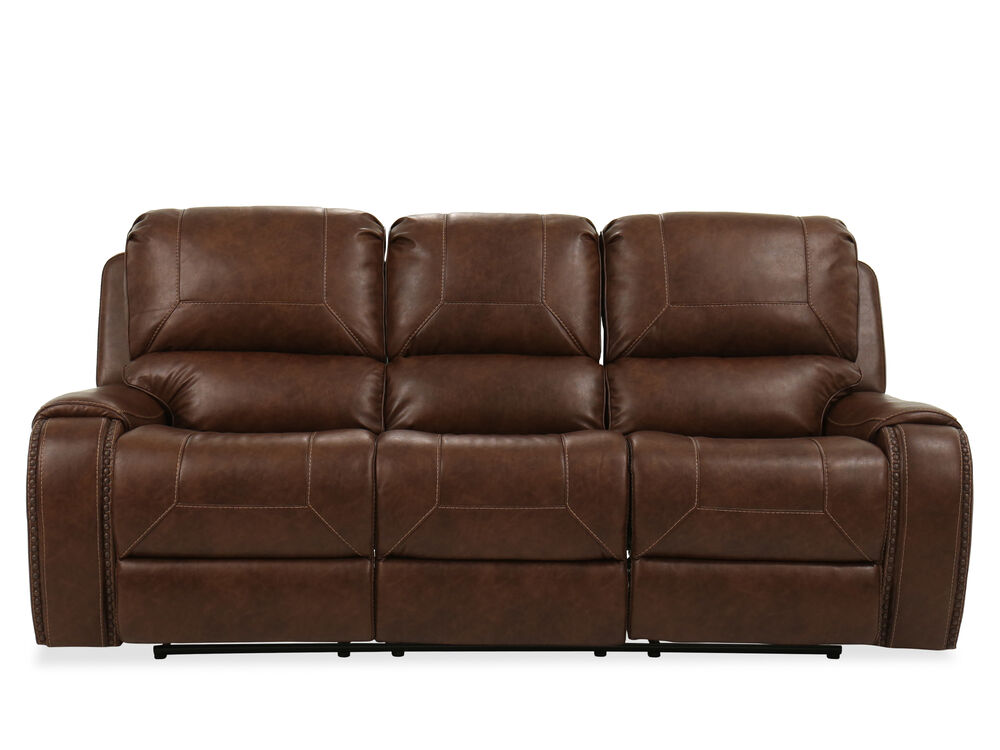 """Contemporary Nailhead-Accented 89"""" Reclining Sofa in Brown"""