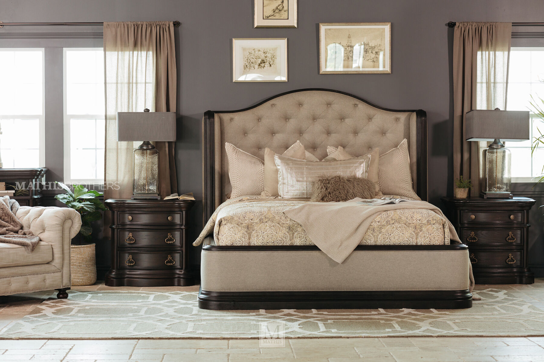 Four Piece Refined Romantic Luxury Bedroom Set In Brown