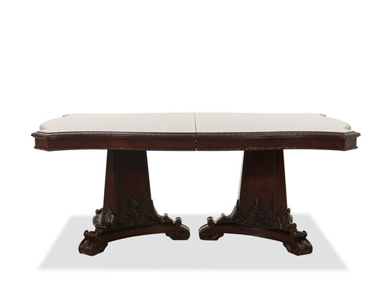 "Double Pedestal 46"" to 82"" Classic Ornate Dining Table in Medium Cherry"