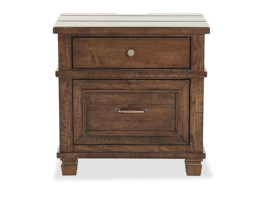"27.5"" Transitional Two-Drawer Nightstand in Brown"
