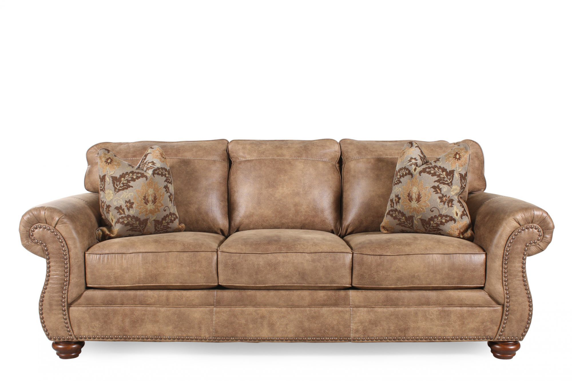 """Traditional Rolled Arm 5"""" Sofa in Southwestern Earth Tone"""