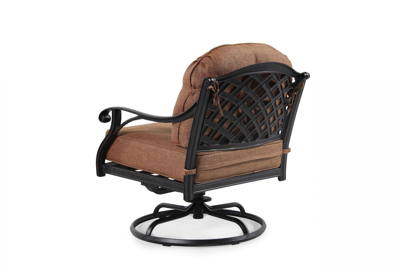 Button tufted aluminum patio swivel club chair in brown for Aluminum patio chairs