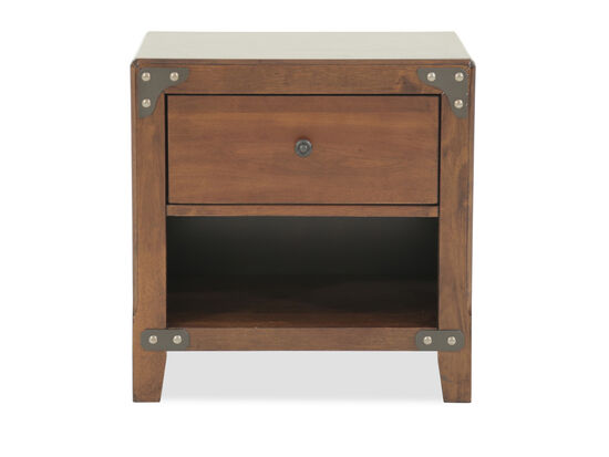 Casual Single Drawer Youth Nightstand in Dark Brown