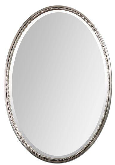 "32"" Twisted Metal Rope Oval Mirrorin Brushed Nickel"