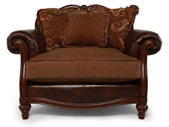 """Rolled Arm Traditional 56"""" Chair and a Half in Brown"""