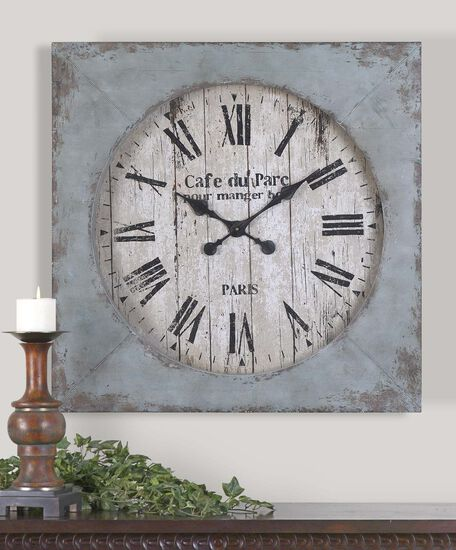 Distressed Square Wall Clock in Aged Blue
