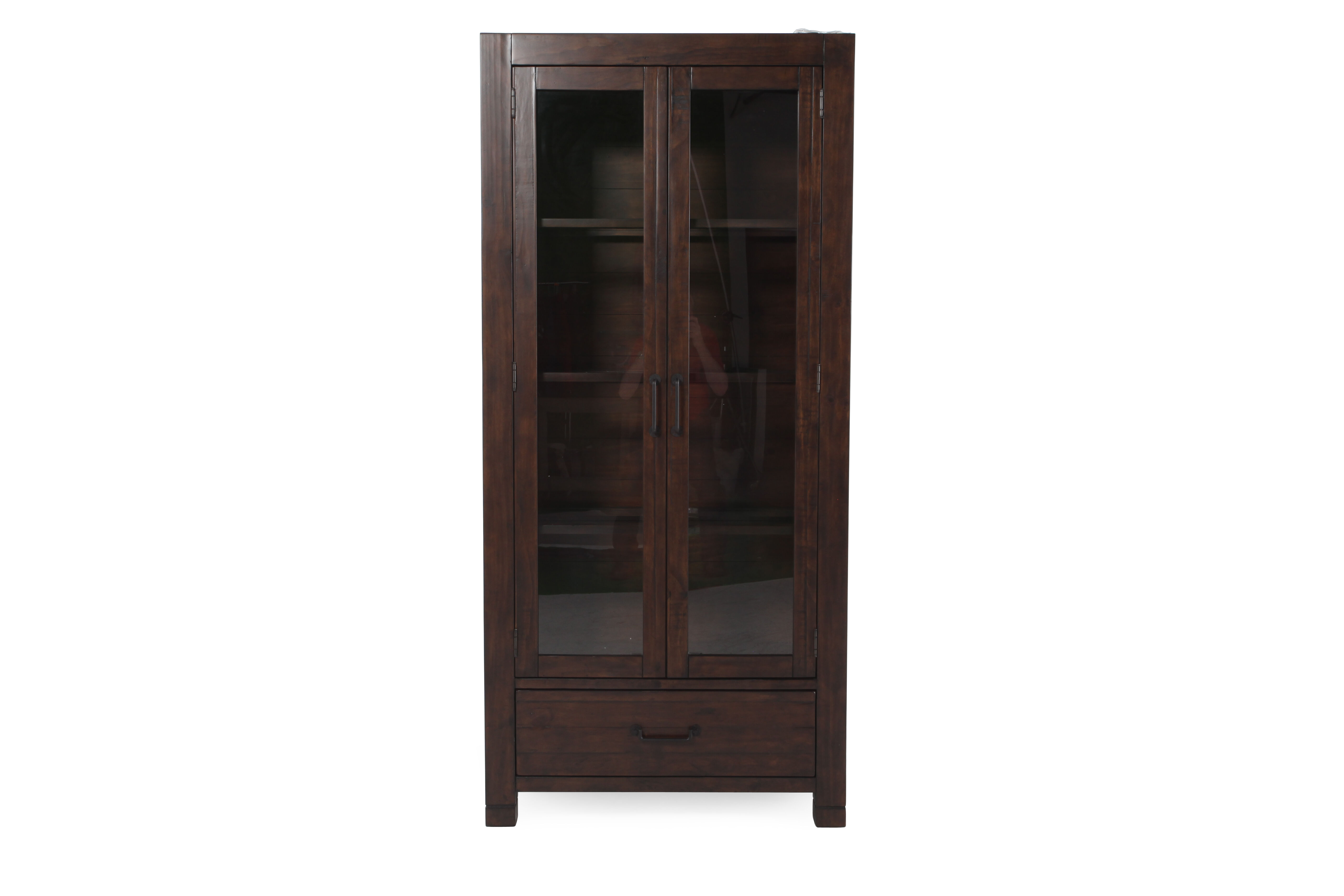 Transitional Solid Pine Curio Cabinet In Rustic Pine ...