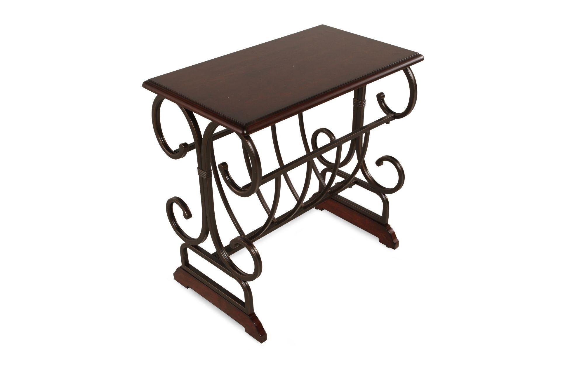 Square Magazine Rack Contemporary Chairside Table In Dark