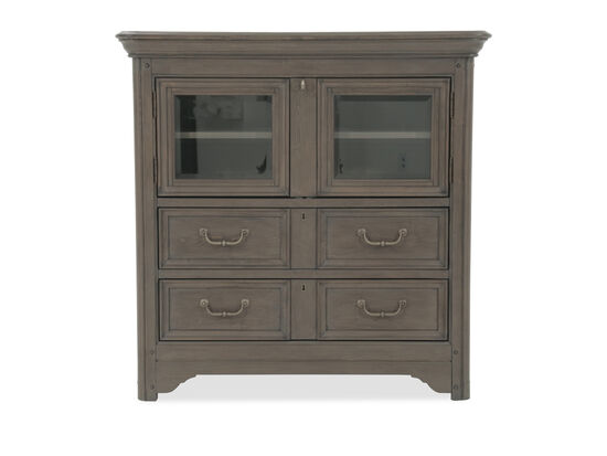 """44"""" Transitional Glass Door Media Chest in Brown"""