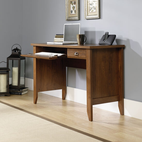 "47"" Transitional Two-Drawer Computer Desk in Oiled Oak"