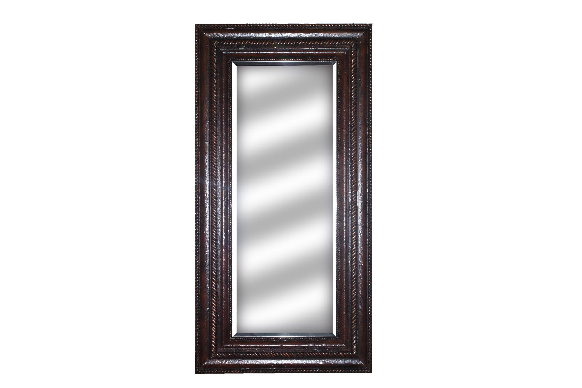 76 gadrooned floor mirror with hidden storage in brown gesso mathis brothers furniture. Black Bedroom Furniture Sets. Home Design Ideas