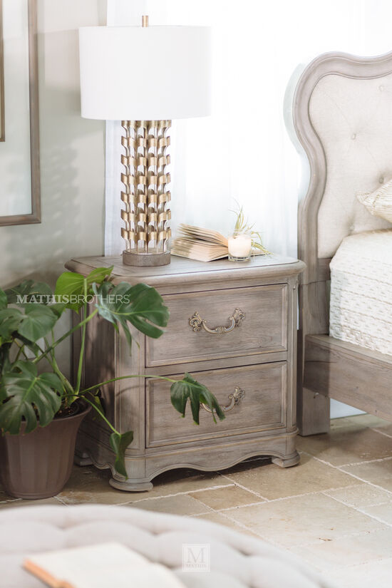 "28.5"" Contemporary Aged Two-Drawer Nightstand in Light Brown"