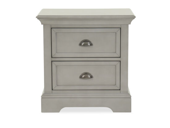Contemporary Paneled Two-Drawer Nightstand in Gray