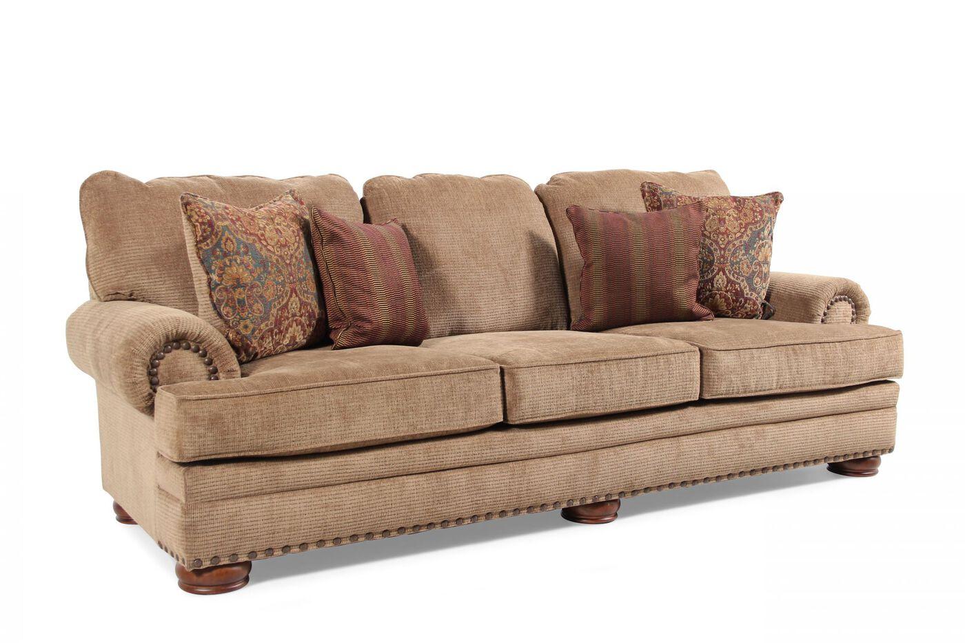 Nailhead Accented 101 Sofa In Desert Brown