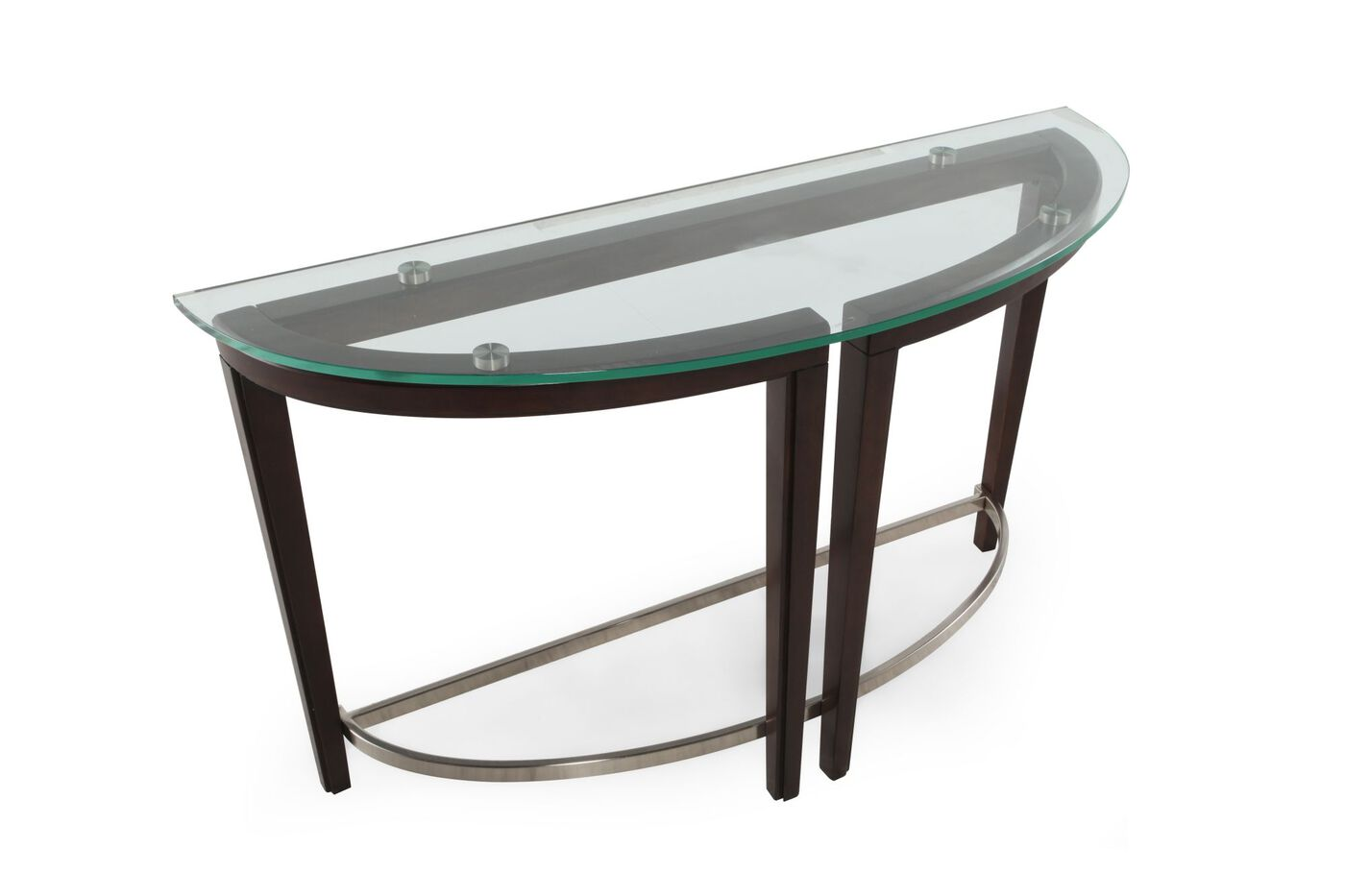 Tempered Glass Top Contemporary Sofa Table In Dark Hazelnut Mathis Brothers Furniture