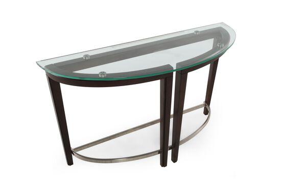 Tempered Glass Top Contemporary Sofa Table in Dark Hazelnut