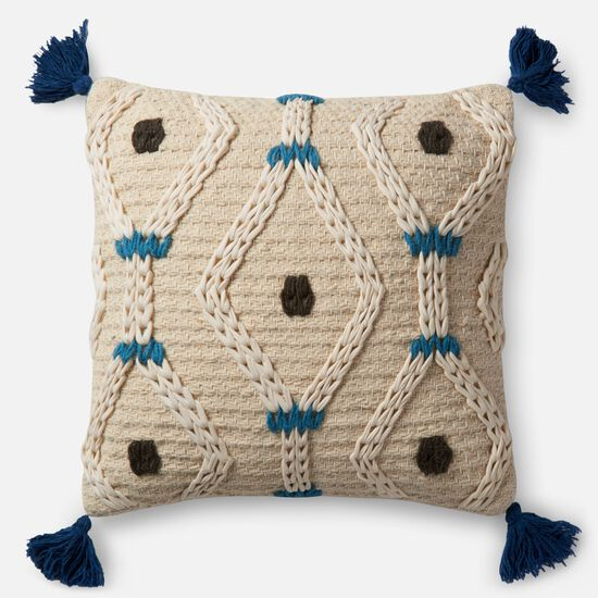 """Contemporary 22""""x22"""" Cover w/down pillow in Ivory/Blue"""