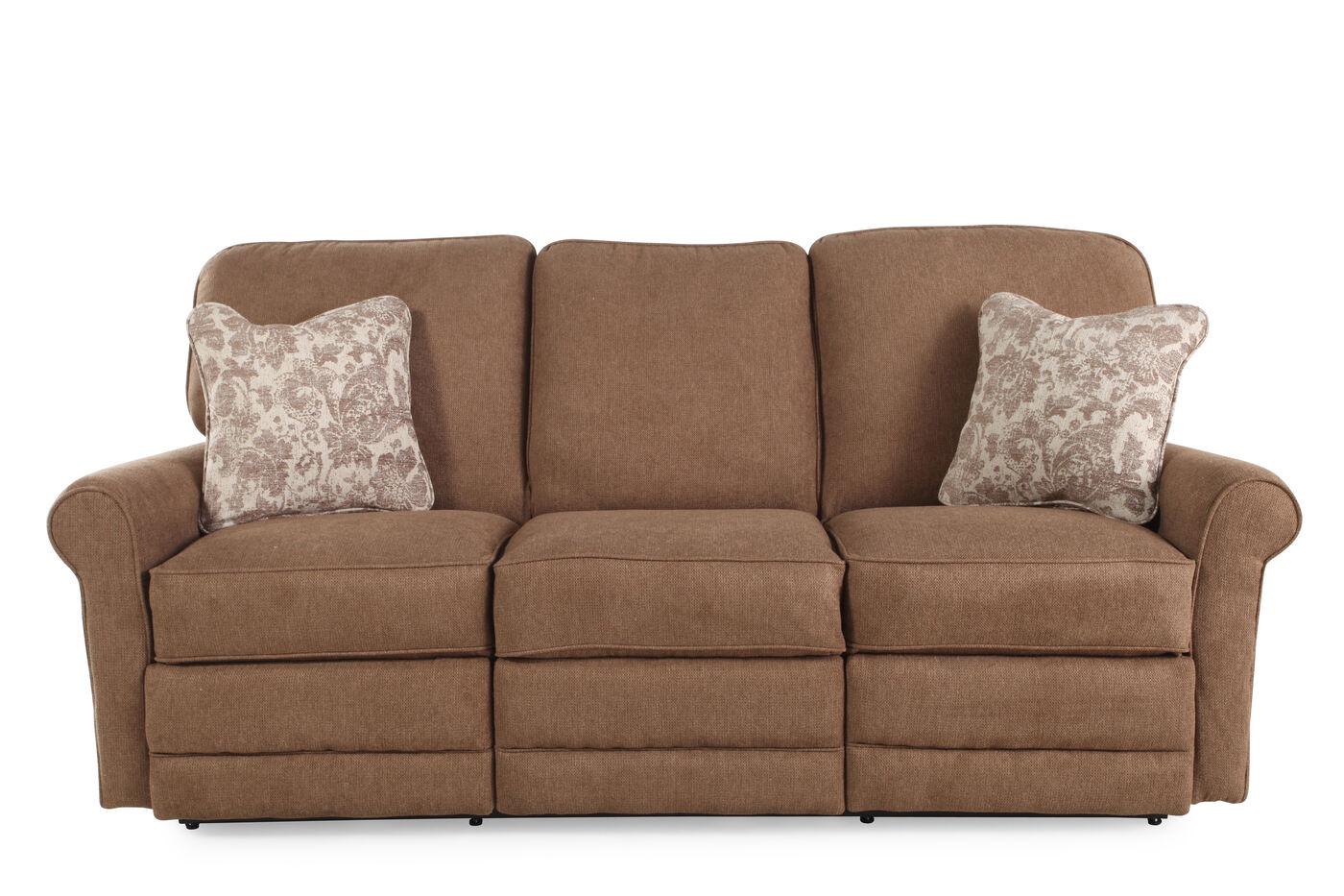 "Contemporary 83"" Reclining Sofa in Mushroom Brown | Mathis ..."