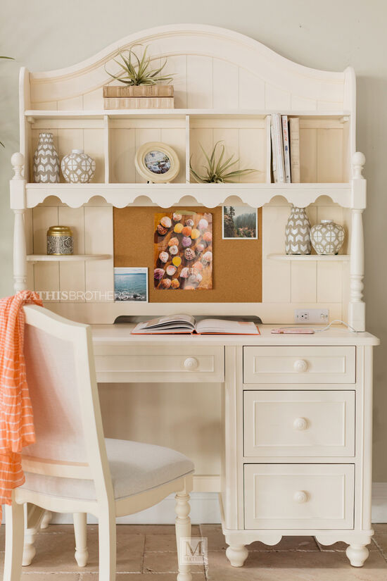 Four-Drawer Transitional Desk in White