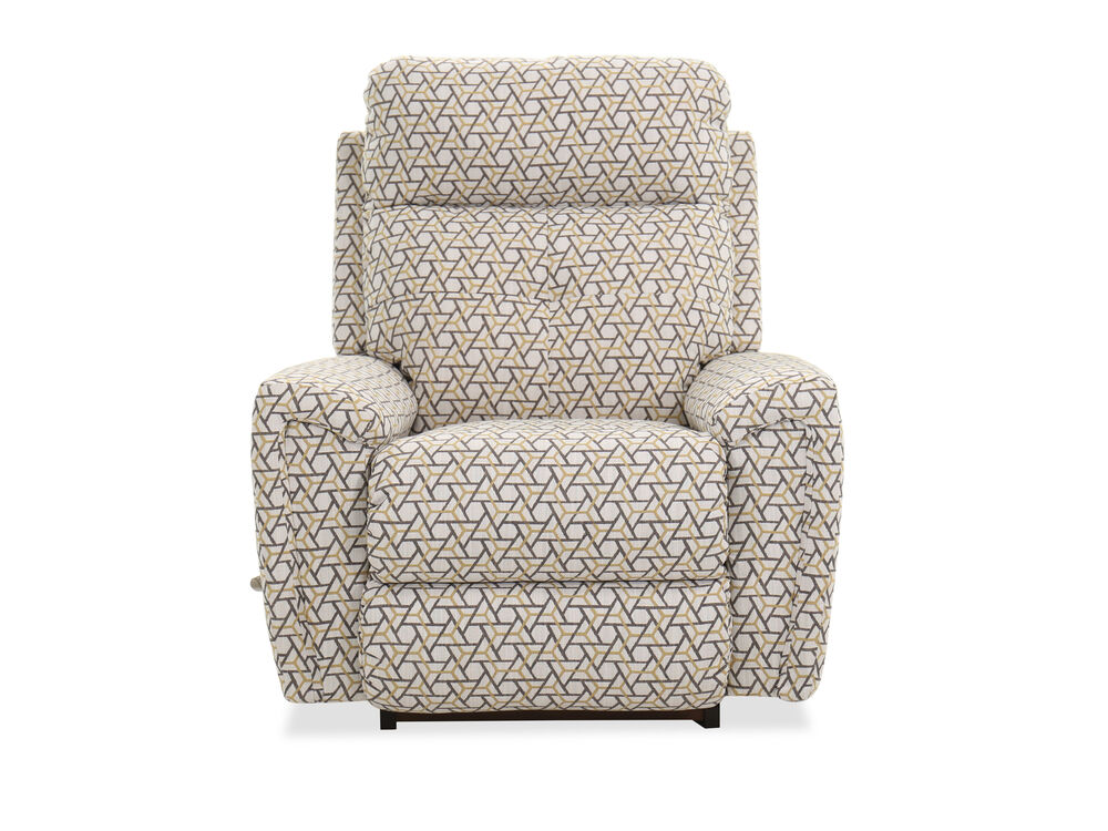 "Modern 38"" Geometric-Patterned Rocking Recliner in Sunshine"